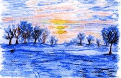 Ilustração do pastel, paisagem do inverno Ilustração Stock