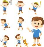 Ilustração do personagem de banda desenhada bonito do menino nos muitos ação ilustração stock