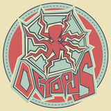 ilustração do polvo do desenho do contorno do chiqueiro dos grafittis Imagens de Stock Royalty Free
