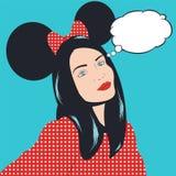 Ilustração do pop art com menina Fotografia de Stock