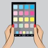 Ilustração do pop art de uma mão com um PC da tabuleta Imagem de Stock