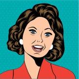 Ilustração do pop art de uma mulher de riso ilustração stock