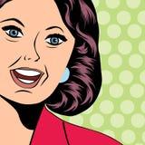 Ilustração do pop art de uma mulher de riso Fotos de Stock Royalty Free