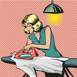 Ilustração do pop art do vetor da roupa passando da mulher ilustração royalty free