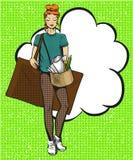 Ilustração do pop art do vetor do artista fêmea Fotos de Stock Royalty Free