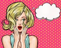 Ilustração do pop art, menina surpreendida Estrela de cinema Mulher cômica ilustração do vetor