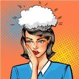 Ilustração do pop art do vetor da mulher que tem problemas Fotos de Stock Royalty Free