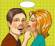 Ilustração do pop art do vetor do sussurro feliz dos pares ilustração royalty free