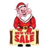 Ilustração do porco com uma bandeira com 'uma venda do ano novo 'da inscrição imagem de stock royalty free