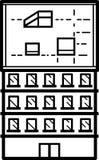 Ilustração do prédio de escritórios - linhas limpas ilustração royalty free