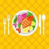 Ilustração do prato de peixes de Cartoone ilustração royalty free