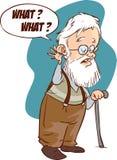 Ilustração do problema surdo, perda da audição, envelhecimento Arte do vetor, fl ilustração stock