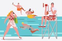 Ilustração do projeto de personagem de banda desenhada Povos na natação Fotos de Stock Royalty Free