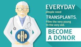 Ilustração do projeto liso órgãos da transplantação do cartaz Torna-se um doador Imagens de Stock