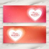 ilustração do projeto do vetor das bandeiras do amor do dia de Valentim Imagens de Stock
