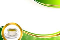 Ilustração do quadro do círculo do ouro do copo de chá verde da bebida do sumário do fundo Fotos de Stock Royalty Free