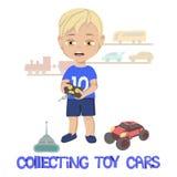 Ilustração do rapaz pequeno que está na frente dos trens e dos carros diminutos na parede e ao lado dos brinquedos no assoalho ilustração stock