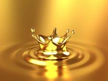Ilustração do respingo 3d da coroa do ouro Imagens de Stock