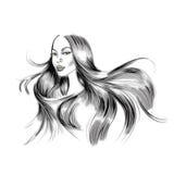 Ilustração do retrato da mulher com cabelo preto longo de fluxo ilustração do vetor