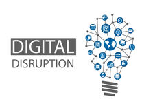 Ilustração do rompimento de Digitas O conceito de ideias disruptivas do negócio gosta de computar em toda parte, analítica, máqui ilustração do vetor