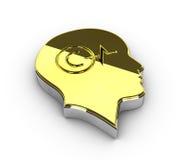 Ilustração do símbolo de Copyright do ouro no fundo branco Fotografia de Stock Royalty Free