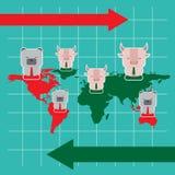 A ilustração do símbolo do touro e do urso do mercado de valores de ação tende Fotografia de Stock