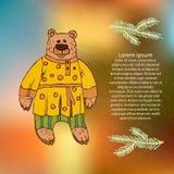 Ilustração do ` s das crianças de um urso, um caráter de contos dos povos do russo Urso animado na roupa popular para imprimir em ilustração stock