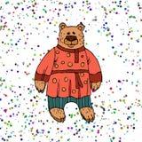 Ilustração do ` s das crianças de um urso, um caráter de contos dos povos do russo Urso animado na roupa popular para imprimir em ilustração do vetor