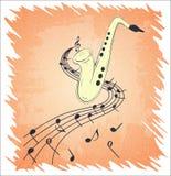 Ilustração do saxofone e de notas musicais na pauta musical, no fundo do grunge e na textura Imagem de Stock Royalty Free
