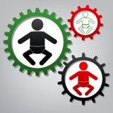 Ilustração do sinal do bebê Vetor Três engrenagens conectadas com ícones ilustração royalty free