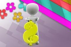ilustração do sinal de dólar do homem 3d Imagens de Stock
