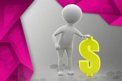 ilustração do sinal de dólar do homem 3d Fotos de Stock