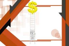 ilustração do sinal de dólar do homem 3d Imagens de Stock Royalty Free