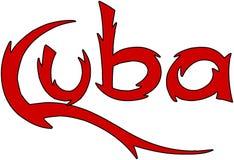 Ilustração do sinal do texto de Cuba Imagens de Stock