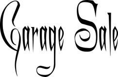 Ilustração do sinal do texto da venda de garagem imagem de stock royalty free