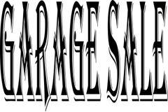 Ilustração do sinal do texto da venda de garagem fotos de stock royalty free