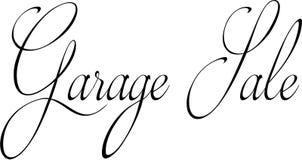 Ilustração do sinal do texto da venda de garagem imagens de stock
