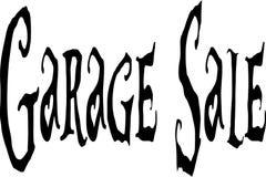 Ilustração do sinal do texto da venda de garagem imagens de stock royalty free