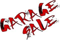 Ilustração do sinal do texto da venda de garagem imagem de stock