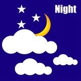 A ilustração do sol da noite nubla-se o vetor Foto de Stock