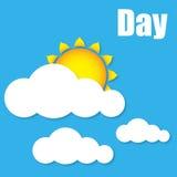 A ilustração do sol do dia nubla-se o vetor Fotos de Stock