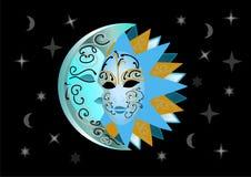 Ilustração do sol e da lua Foto de Stock