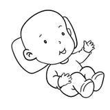 Ilustração do sorrir-vetor do bebê do desenho da mão Imagem de Stock