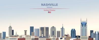 Ilustração do sumário do vetor da skyline da cidade de Nashville no fundo bonito do céu do dia do inclinação colorido com a bande ilustração royalty free