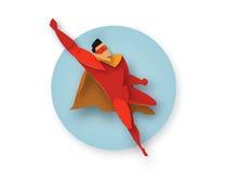 Ilustração do super-herói do voo, ícone do poder do negócio Fotos de Stock