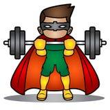 A ilustração do super-herói levanta o ferro do barbell Foto de Stock Royalty Free