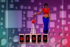 ilustração do telefone celular dos meios das mulheres 3d Fotos de Stock