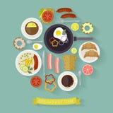 Ilustração do tempo de café da manhã do vetor com ícones lisos Alimentos frescos e bebidas no estilo liso Imagem de Stock Royalty Free