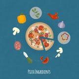 Ilustração do tempo de cozimento do vetor com ícones lisos Alimentos frescos e materiais no estilo liso Fotografia de Stock