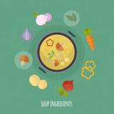 Ilustração do tempo de cozimento do vetor com ícones lisos Alimentos frescos e materiais no estilo liso Foto de Stock